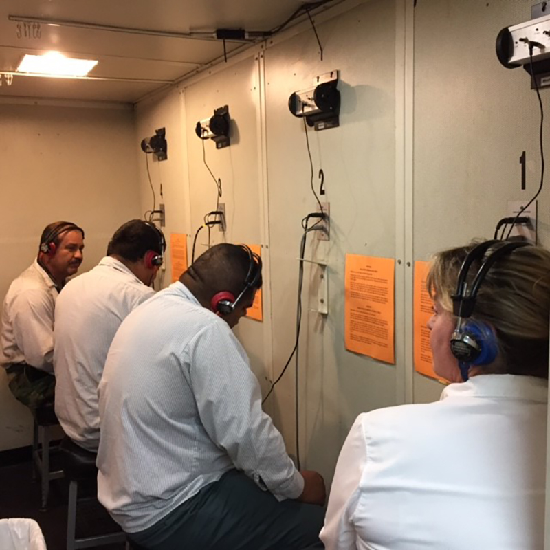 C&W Services Employees Taking Hearing test