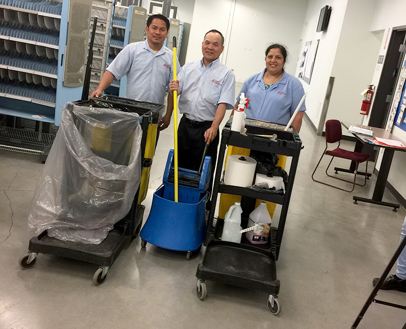 Cleaning Janitors with carts
