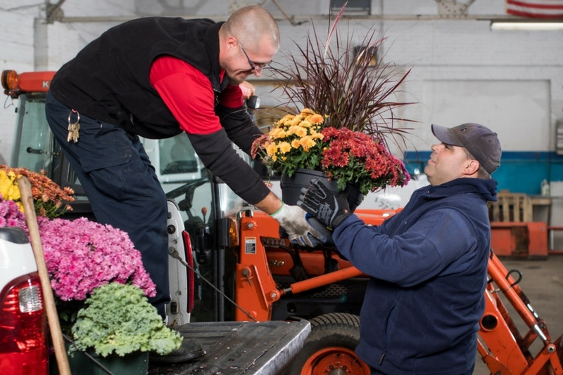 David and a teammate work to beautify a large college campus.
