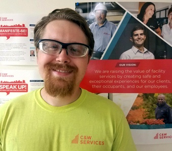 Sam is part of the apprentice program at CW Services, which provides great career opportunities to people looking to get into facilities services.