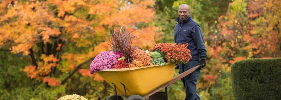 A C&W Services employee helps plant landscape the Rider campus.